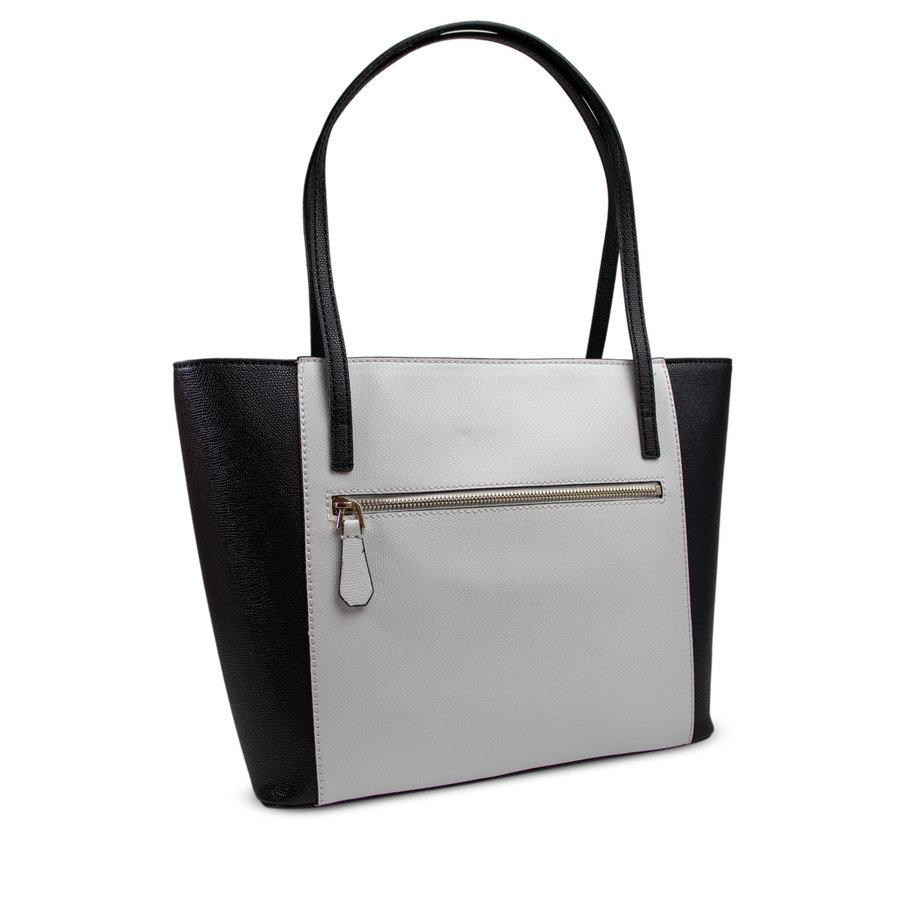 Schwarz/Weiß Kunstleder Handtasche-2