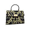 Guess Luxe  Schwarz/Gelb Leder Handtasche mit Goldfarbiges Metallbeschlag mit Guess Luxe Logo