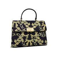 thumb-Schwarz/Gelb Leder Handtasche mit Goldfarbiges Metallbeschlag mit Guess Luxe Logo-1