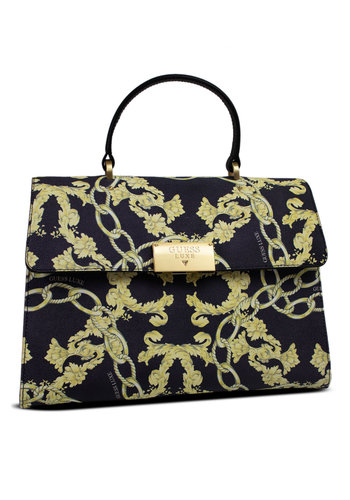 Guess Luxe Schwarz/Gelb Leder Handtasche