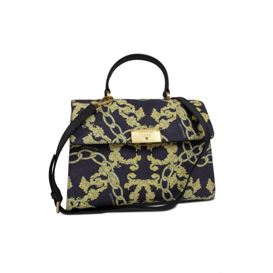 Schwarz/Gelb Leder Handtasche mit Goldfarbiges Metallbeschlag mit Guess Luxe Logo-2