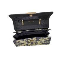 thumb-Schwarz/Gelb Leder Handtasche mit Goldfarbiges Metallbeschlag mit Guess Luxe Logo-4