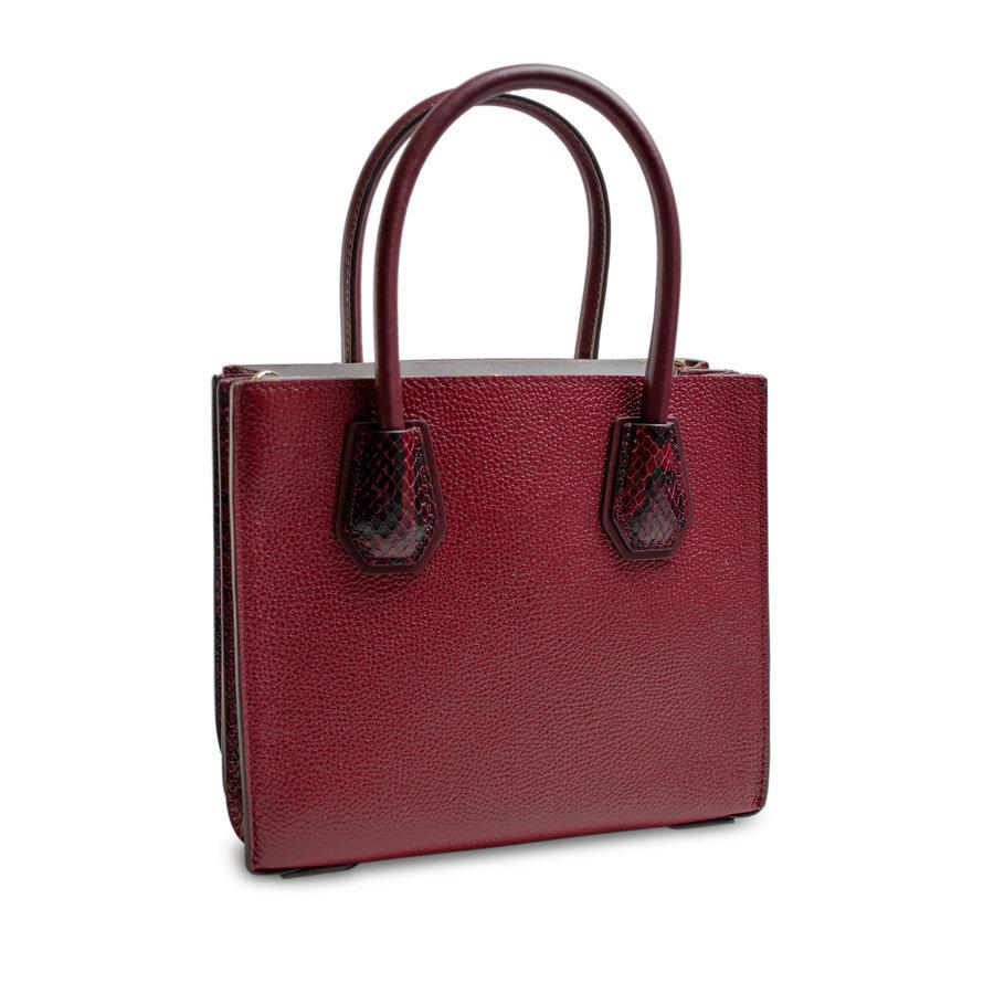 Kleine Dunkelrote Handtasche mit ein Deko Vorhängeschloss-3