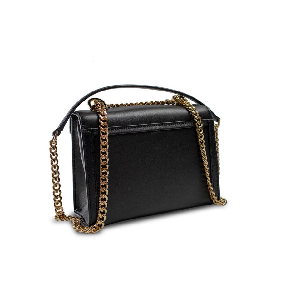 Kleine Schwarze Leder Umhängetasche mit Druckknopfverschluss-2