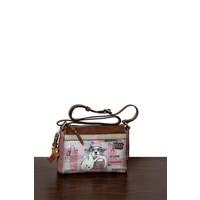 thumb-Braun/Rosa Umhängetasche mit Hund Motive *Borneo Collection*-1