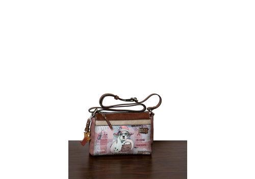 DogsByBeluchi Braun/Rosa Umhängetasche mit Hund Motive *Borneo Collection*
