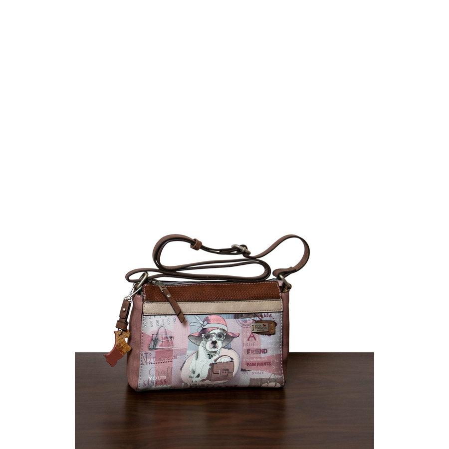 Braun/Rosa Umhängetasche mit Hund Motive *Borneo Collection*-1