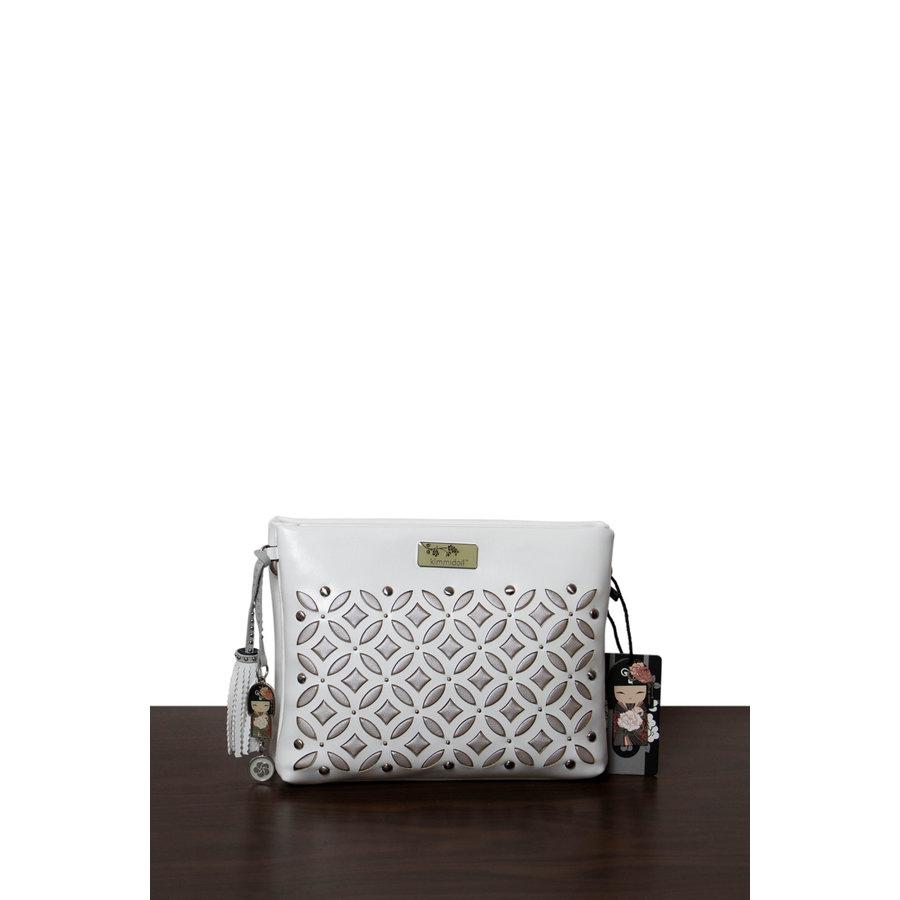 Weiß/Silberfarbige Umhängetasche mit Nieten Verzeihung-1