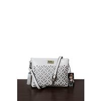 thumb-Weiß/Silberfarbige Umhängetasche mit Nieten Verzeihung-2