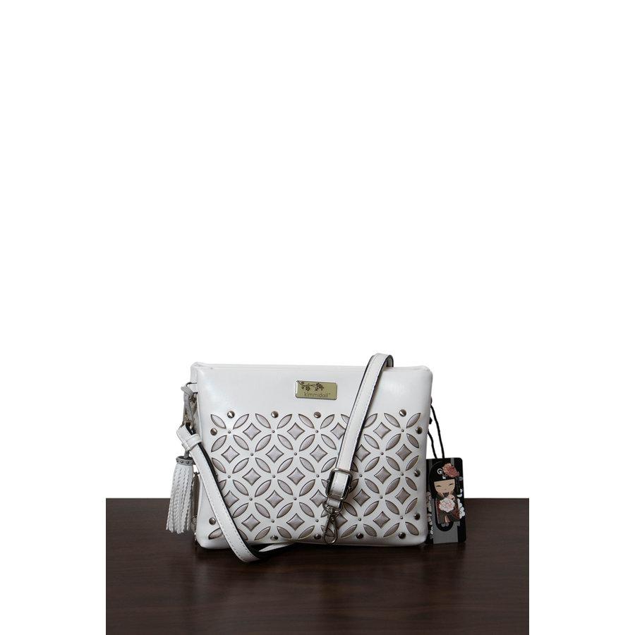 Weiß/Silberfarbige Umhängetasche mit Nieten Verzeihung-2