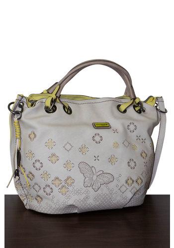 Kimmidoll Grau/Lindgrüner Shopper mit Schmetterling und Sterne Motive