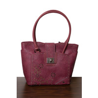 thumb-Burgunder Handtasche Nieten Verzierung-1