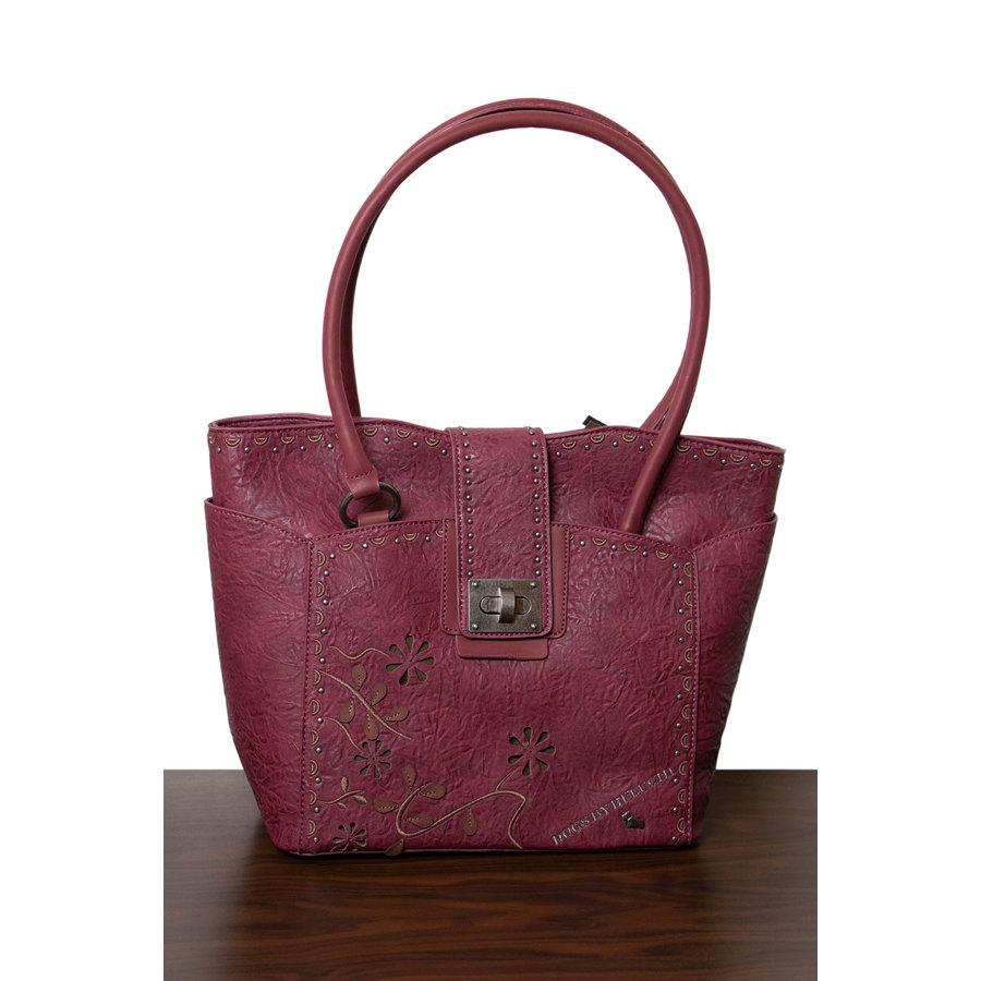 Burgunder Handtasche Nieten Verzierung-1