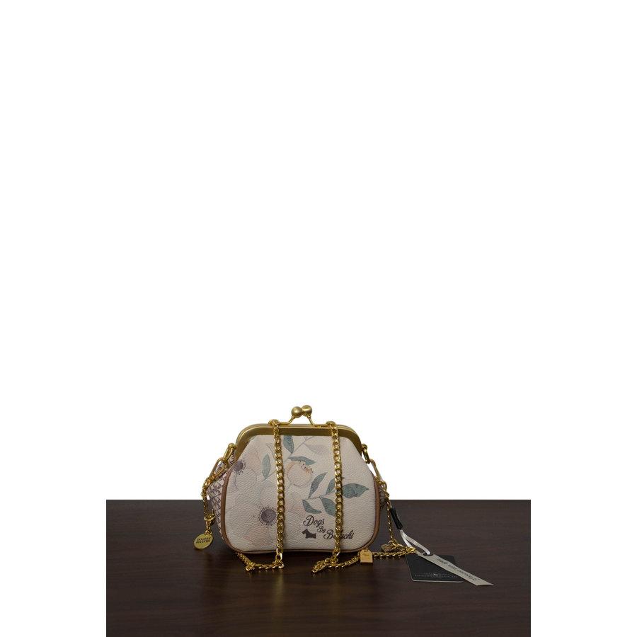 Beige/Braune/Goldfarbige Umhängetasche mit Blumen Motive-2