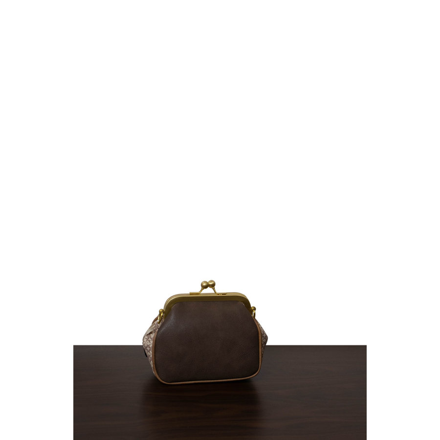 Beige/Braune/Goldfarbige Umhängetasche mit Blumen Motive-3