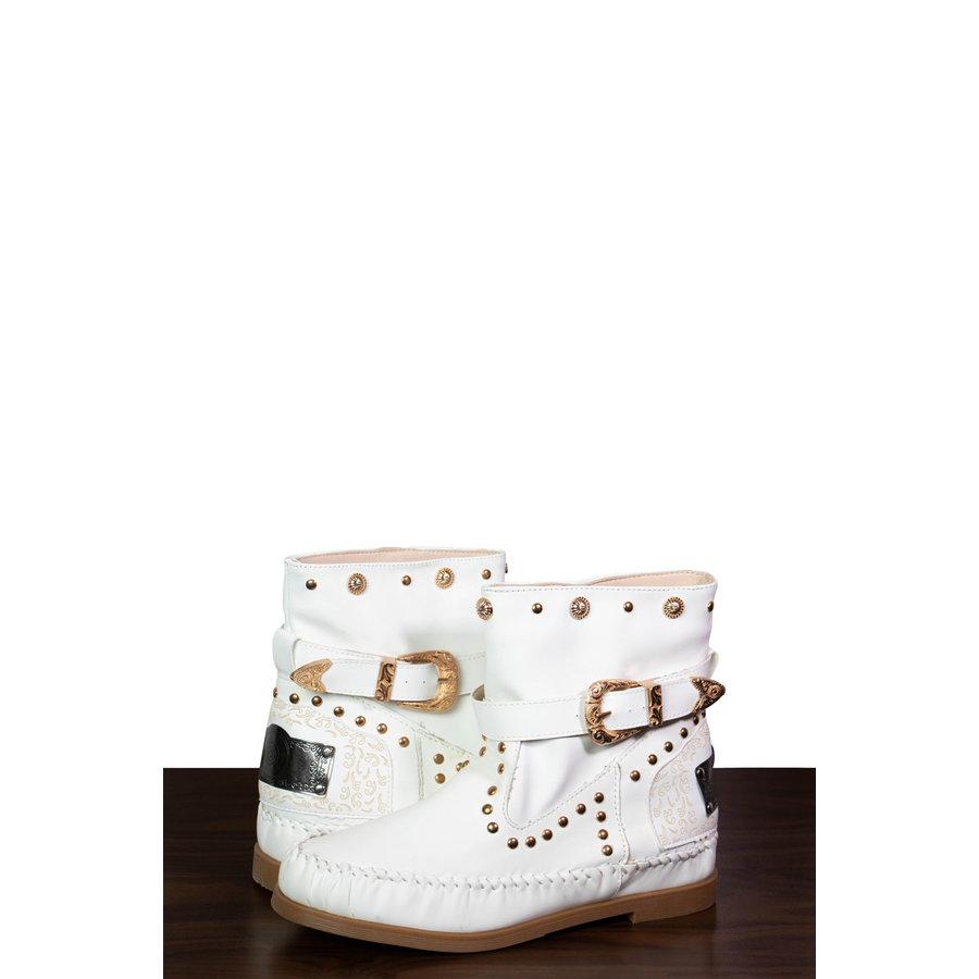 Weiße Kunstleder Sommer Stiefeletten-1