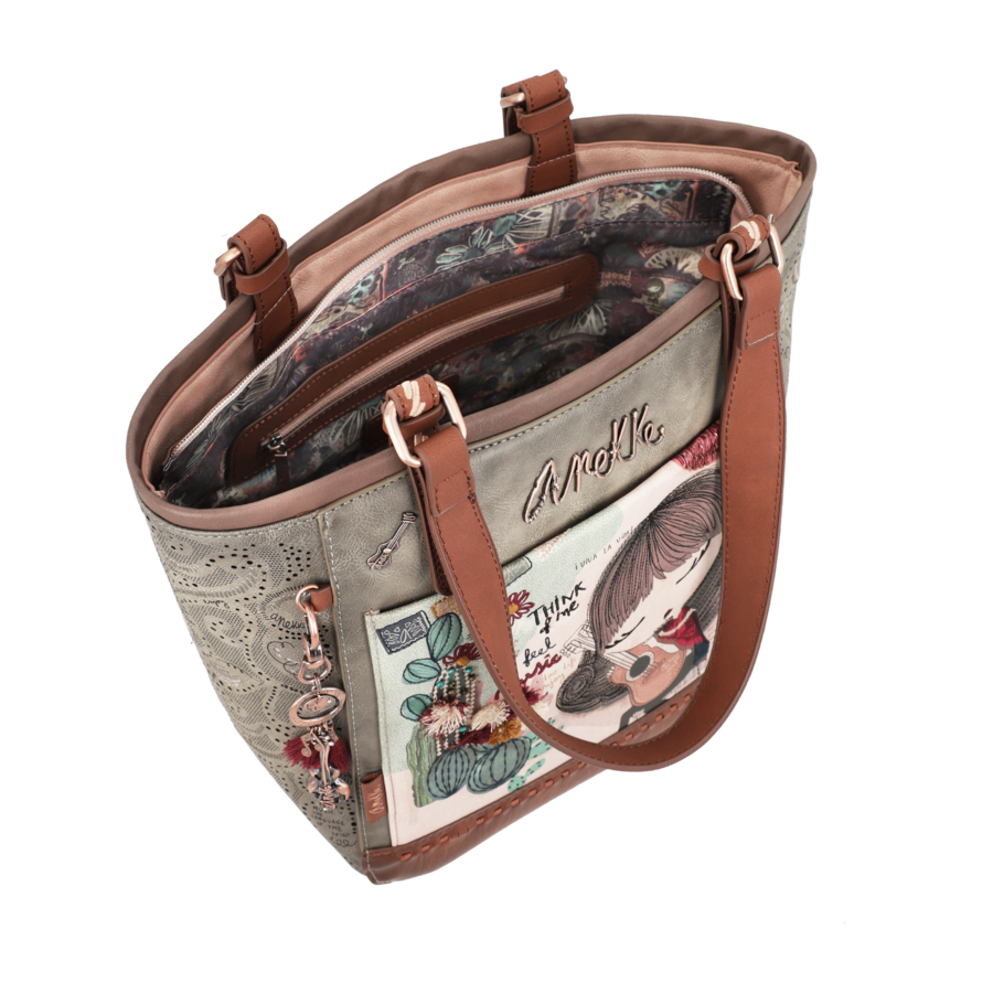 Braun/Grüner Shopper *Ixchel Collection*-3