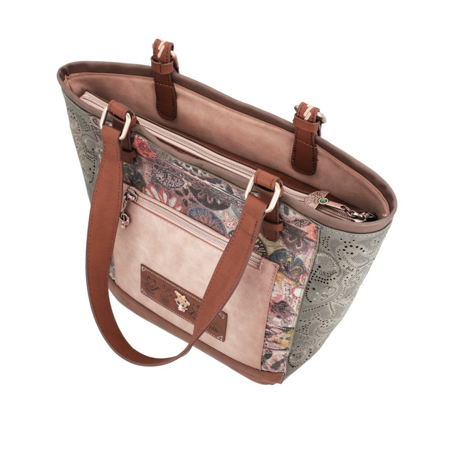 Braun/Grüner Shopper *Ixchel Collection*-6
