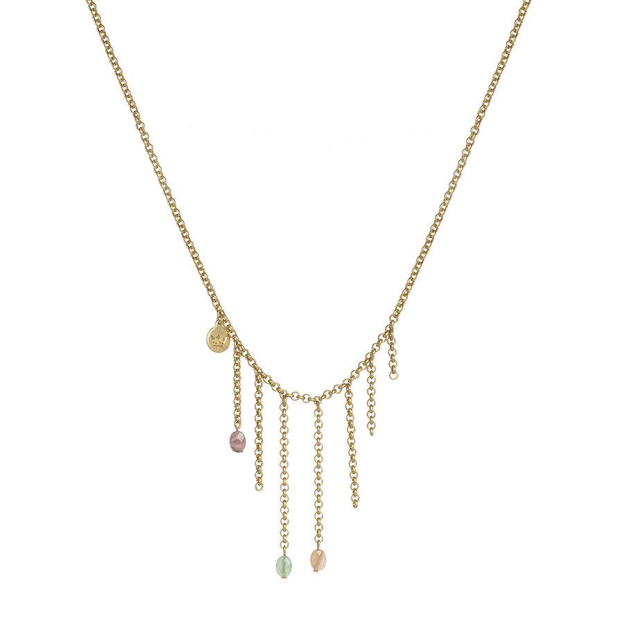 Multi Stone/Versilberte Halskette Damen-2
