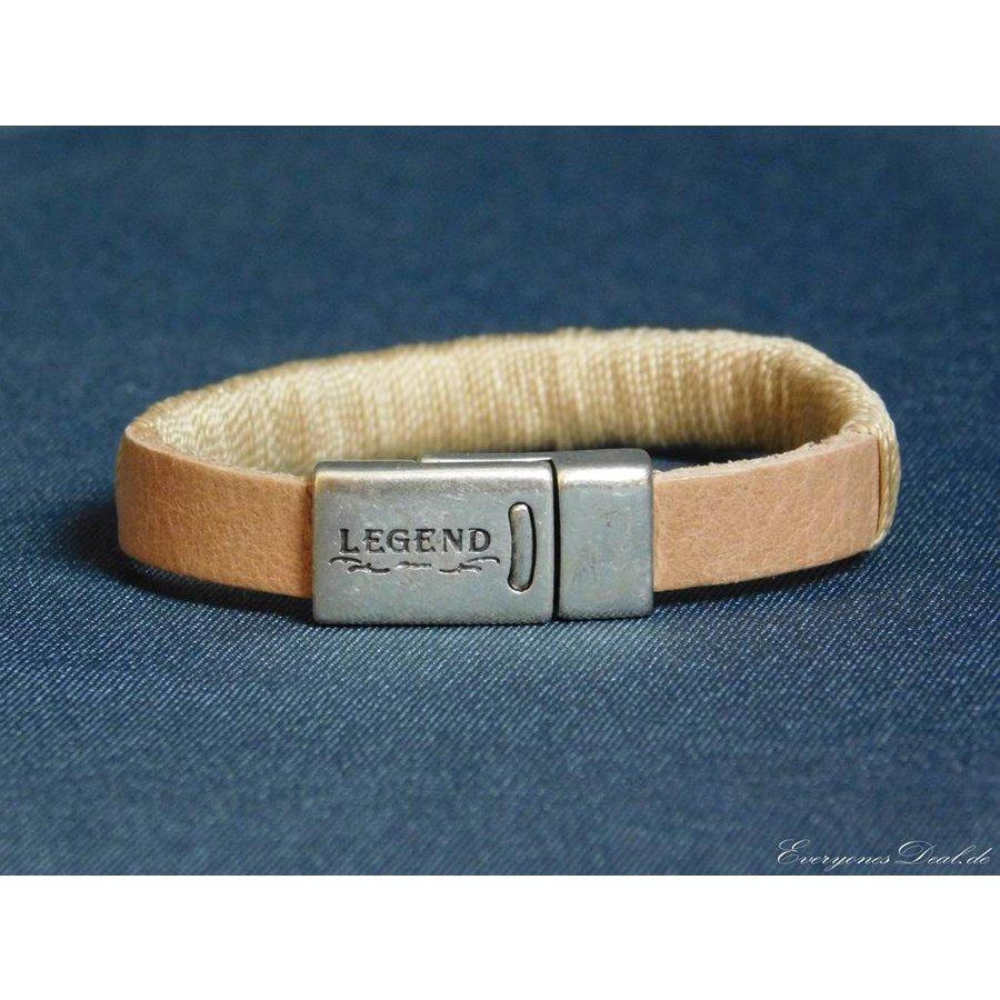 Hellbrauner Leder Armband Magnetverschluss-1