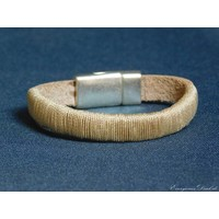 thumb-Hellbrauner Leder Armband Magnetverschluss-3