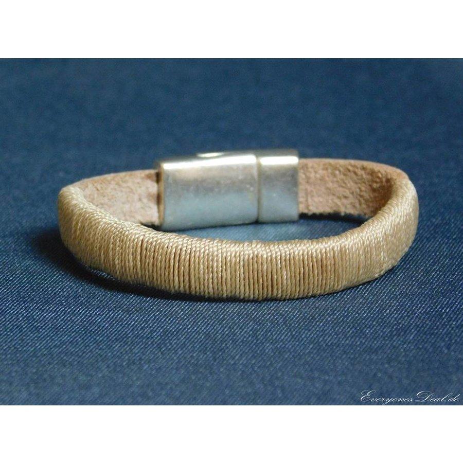 Hellbrauner Leder Armband Magnetverschluss-3