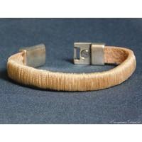 thumb-Hellbrauner Leder Armband Magnetverschluss-4