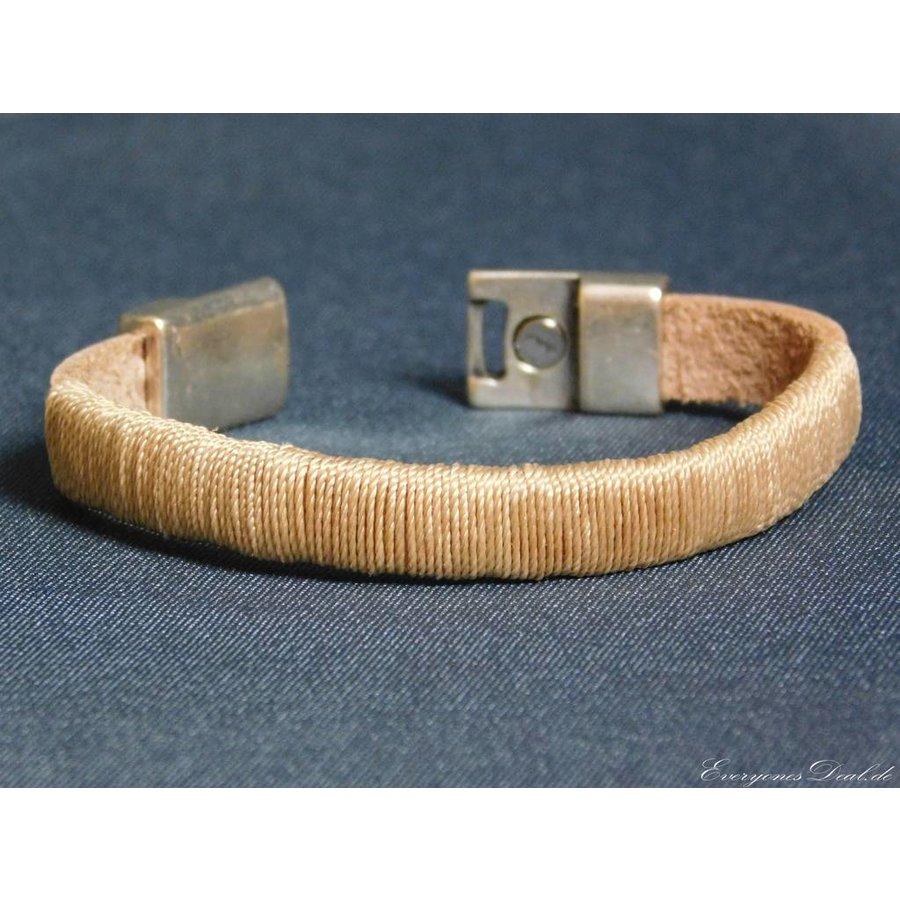 Hellbrauner Leder Armband Magnetverschluss-4
