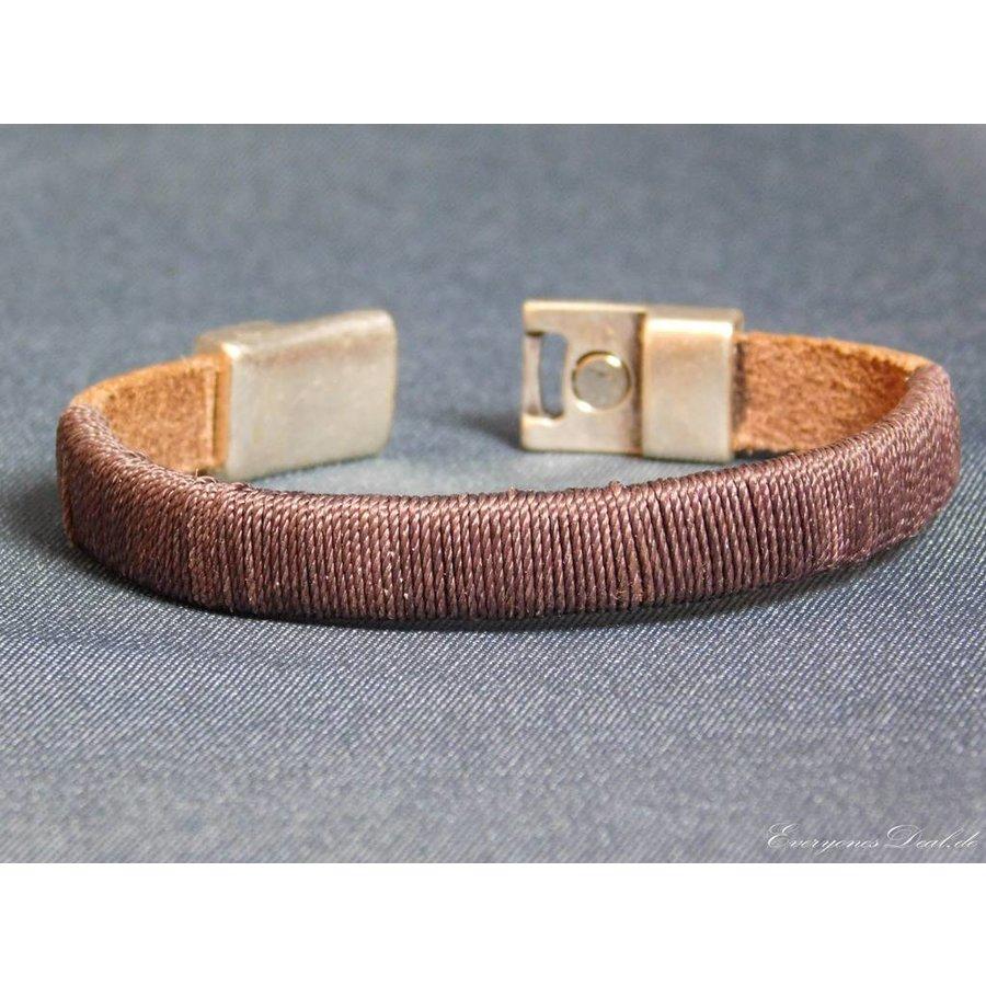 Dunkelbrauner Leder Armband Magnetverschluss-4
