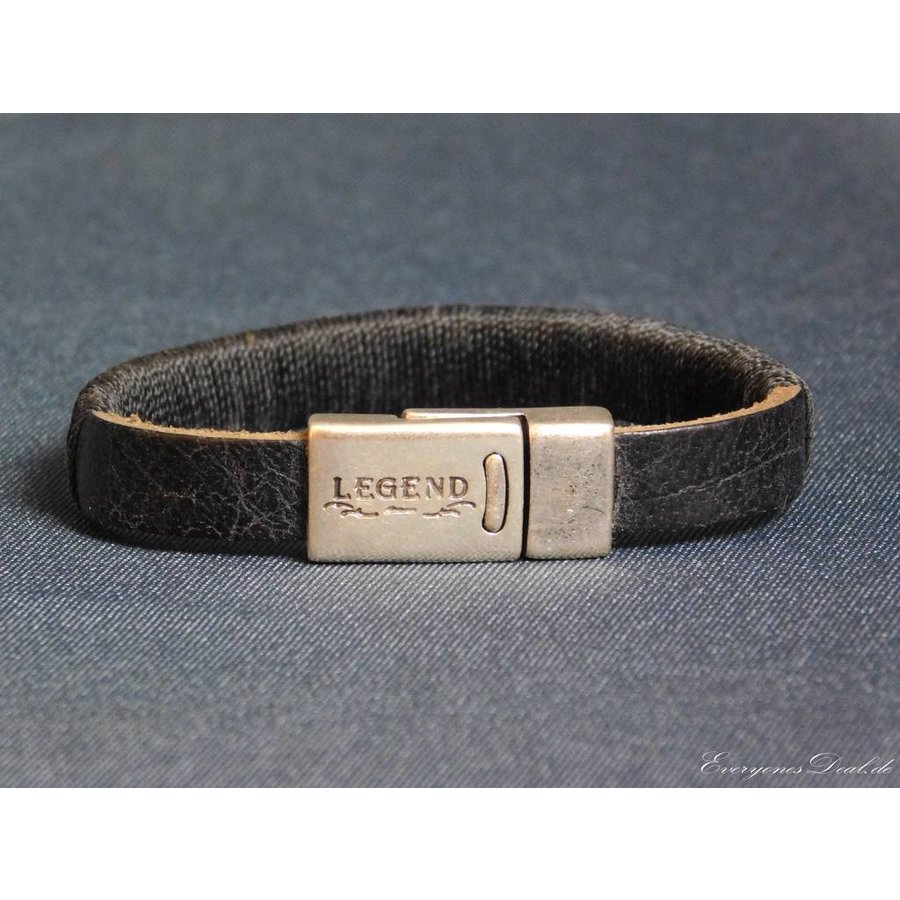 SchwarzeLeder Armband Magnetverschluss-1