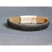 thumb-SchwarzeLeder Armband Magnetverschluss-3