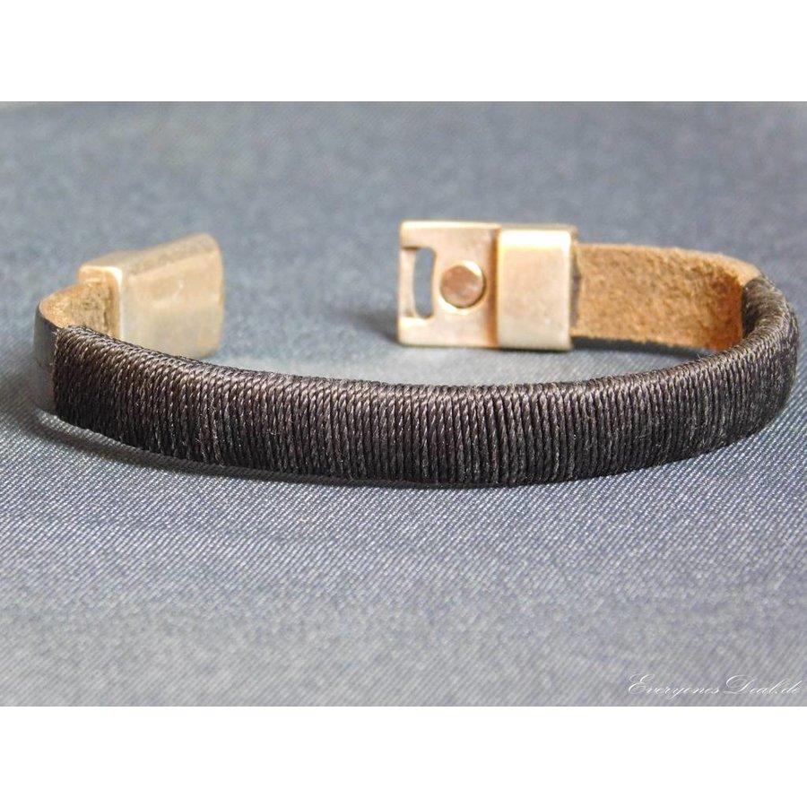 SchwarzeLeder Armband Magnetverschluss-4