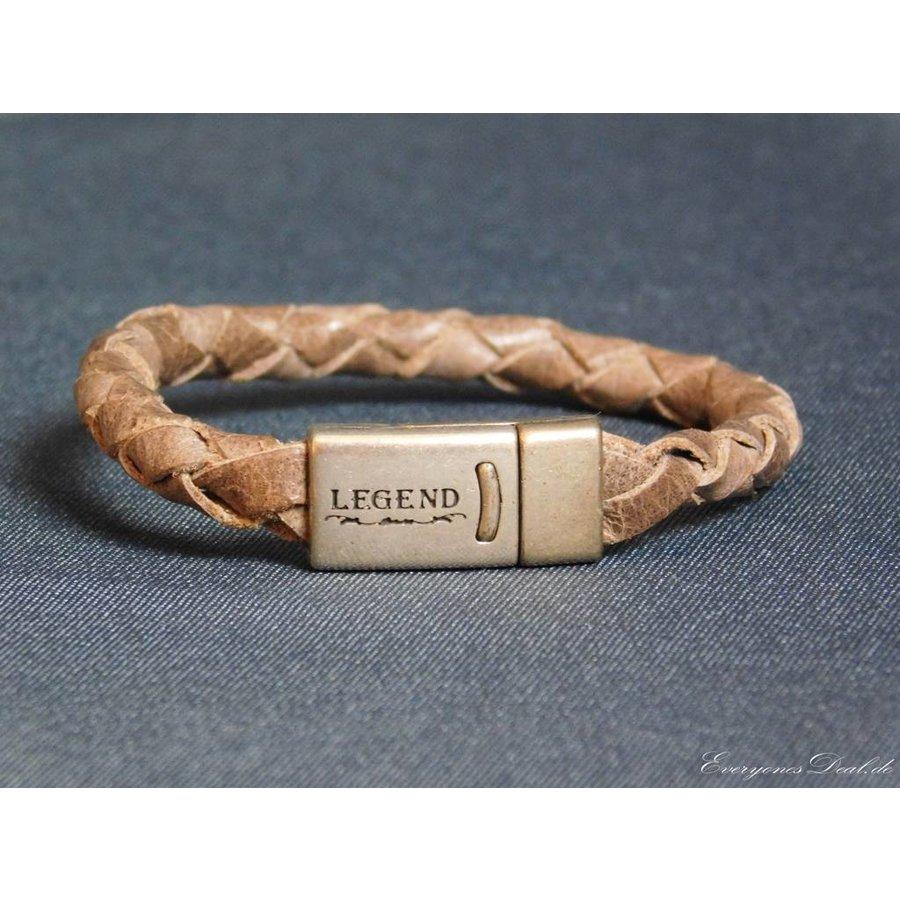 Braun Leder Geflochten Armband-1