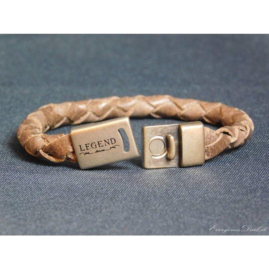 Braun Leder Geflochten Armband-2