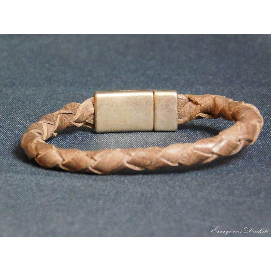Braun Leder Geflochten Armband-3