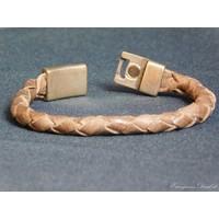 thumb-Braun Leder Geflochten Armband-4