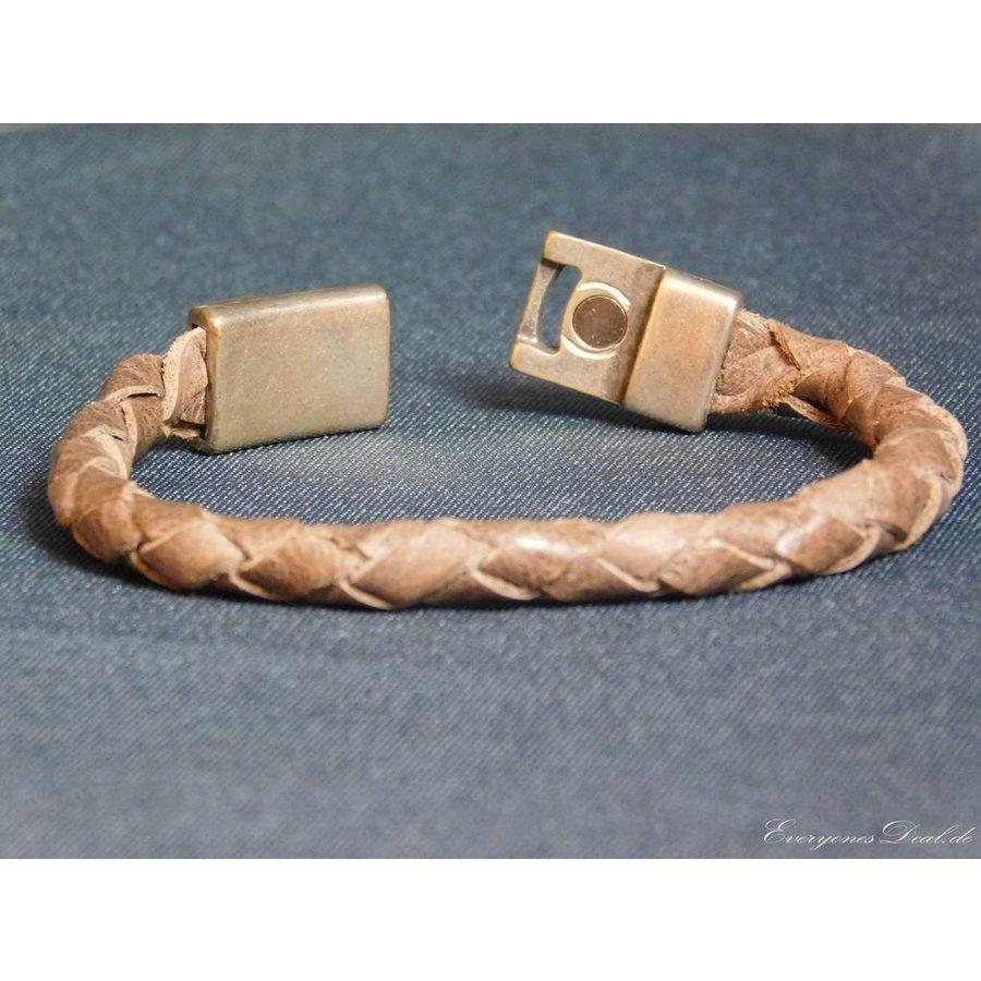 Braun Leder Geflochten Armband-4
