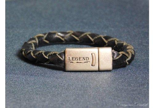 Legend Schwarze Geflochtene Leder Armband