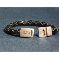 thumb-Schwarze Geflochtene Leder Armband-2