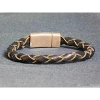 thumb-Schwarze Geflochtene Leder Armband-3
