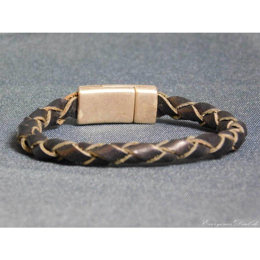 Schwarze Geflochtene Leder Armband-3