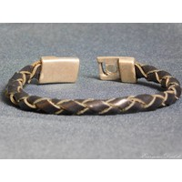thumb-Schwarze Geflochtene Leder Armband-4