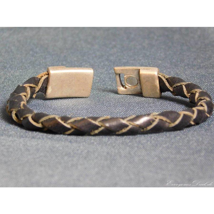 Schwarze Geflochtene Leder Armband-4