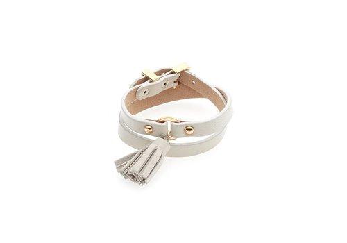 biba Experience Weiß/Goldfarbige Leder Armband