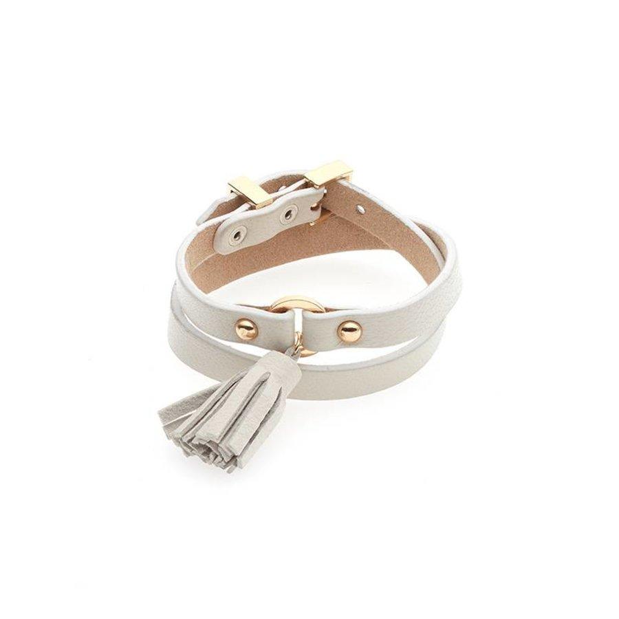 Weiß/Goldfarbige Leder Armband Schnalle verschluss-1