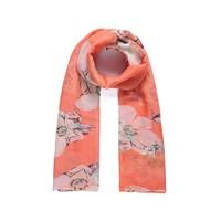 thumb-Orange Langer Blumen Schal-1