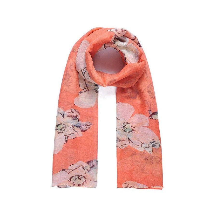 Orange Langer Blumen Schal-1