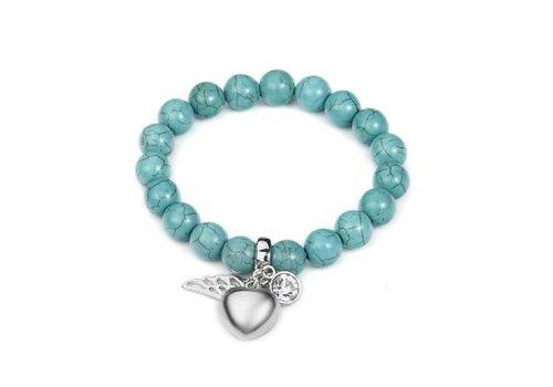 Intrigue Silberfarbig Blaugrüner Armband Gummizug