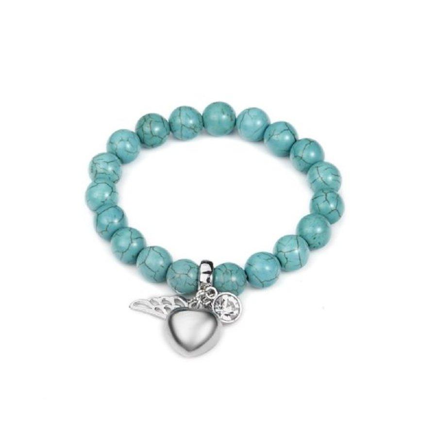 Silberfarbig Blaugrüner Perlen Armband Gummizug mit Herz und Feder-1