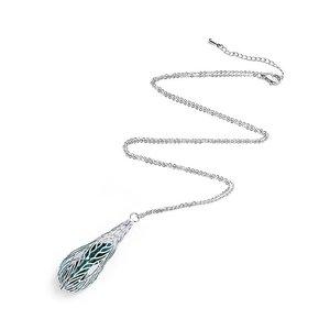 Intrigue Silberfarbig/Grüne Halskette mit Feder Anhänger